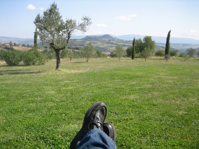 View of feet and Todi in distance from Tenuta di Canonica