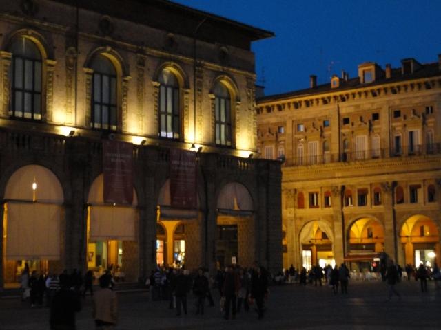 Bologna's Piazza Maggiore at nightfall