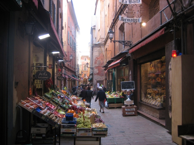 Shopping for fresh food in the heart of Bologna